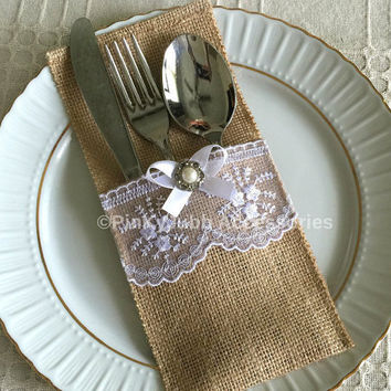 10 burlap and white color lace rustic silverware holder, wedding, bridal shower, tea party table decoration