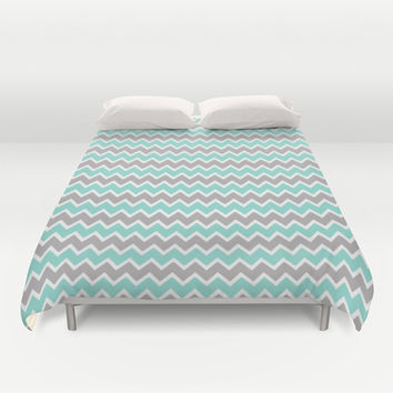 Aqua Turquoise Blue and Grey Gray Chevron Duvet Cover by decampstudios
