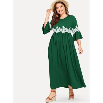 Plus Flounce Sleeve Floral Lace Applique Dress Green