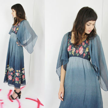 vtg 70s butterfly sleeve dress boho maxi dress festival dress blue hippie dress floral ombre gypsy dress small sm s