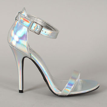 Anne Michelle Enzo-01X Hologram Open Toe Ankle Strap Heel