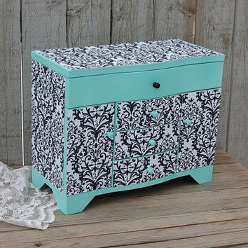 Jewelry Box, Jewelry Armoire, Shabby Chic, Mint Green, Damask, Decoupage, Upcycled, Farmhouse