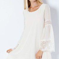 Eyelash Lace Bell Sleeve Shift Dress - Cream