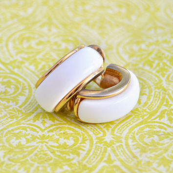 Vintage Monet, White and Gold Tone, Crescent, Half Hoop Shape, Clip On, Non Pierce Earrings, Womens Estate Jewelry