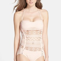 Women's Robin Piccone 'Mia' Crochet Overlay One-Piece Swimsuit