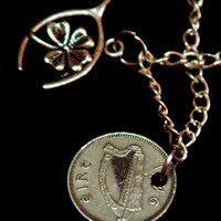Ireland, Coin Pendant Necklace, Irish, Lucky Threepence, Hare & Shamrock, Harp