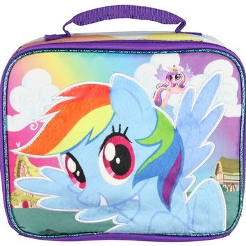 My Little Pony Soft Lunch Box Tote Lunch Bag With Fuzzy 3D Character Design (Rainbow Dash)