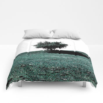 Tree On Hill Comforters by ARTbyJWP