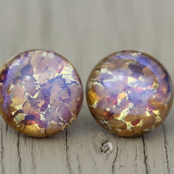 Opal Stud Earrings : Yellow, Pink, Purple, Gold, Topaz Glass Opal Dome Stud Earrings, Sterling Silver Posts, Fake Plugs