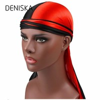 New Fashion Men's Silk Patchwork Durags Double Colors Soft Satin Durag Bandanas Turban Headwear Headband Hat Hair Accessories