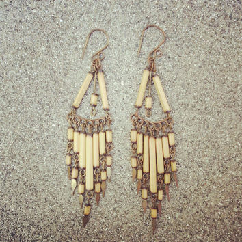 Costa Rican Tribal Dangle Earring Boho Hippie Vintage Inspired