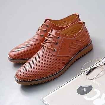 Leather Summer Breathable Soft Flat Casual Shoes