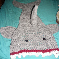 Crochet Shark Blanket - Attack of the Shark Cocoon Blanket - Cocoon Blanket - Shark Lapgahn- Killer Shark Attack Blanket - Custom made Sizes