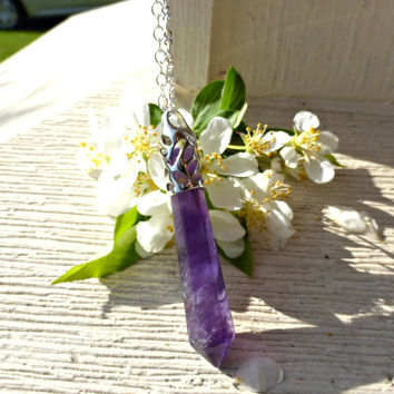 Amethyst stone  faceted pendant, silver bail and silver plated chain necklace.