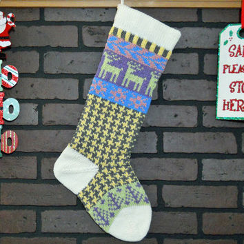 Christmas Stocking Hand Knit in Grey and Yellow Houndstooth, Fern Green Reindeer, Lavender Trees, Fair Isle Stocking, can be personalized