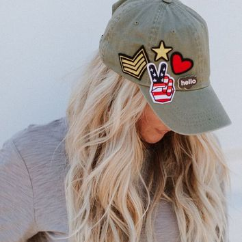 Classic Rock Patched Baseball Hat - Olive