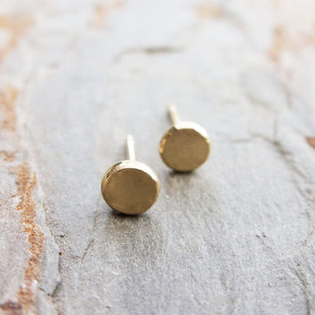Tiny Solid Gold Flat Pebble Earrings - Minimalist 14k Yellow Gold Dot Studs with Gold Posts and Backings - Choose 3mm, 4mm, or 5mm