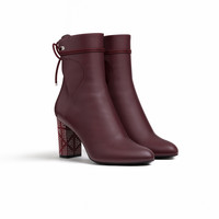 Burgundy smooth calfskin ankle boot, 8 cm - Dior