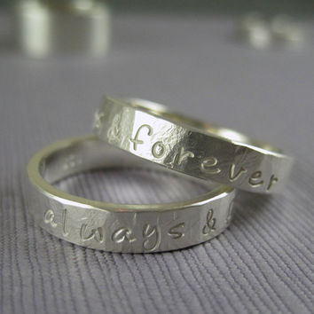 Promise ring set personalized in rustic hammered by TwoSilverMoons
