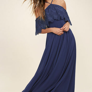 Unmatched Beauty Navy Blue Lace Off-the-Shoulder Dress