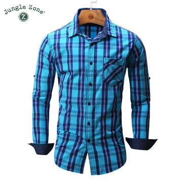 Men's shirt Long Sleeve Plaid Shirts Mens shirts  Casual Denim Style Checks Shirts