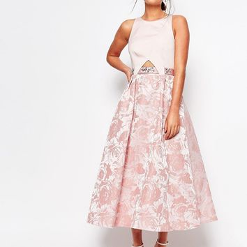 Coast Kyla Dress With Embellished Waist in Blush at asos.com