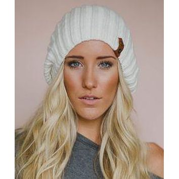 Ivory Beanie Slouch Hat Leather Accent Thick Warm Ribbed Stocking Cap With Brown Genuine Cowhide Trim And Brass Snaps Winter Hat