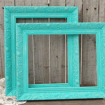 Frames Shabby Chic Tiffany Blue Aqua Wedding Photo Set Wo
