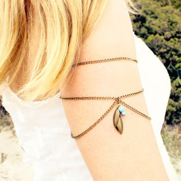 Shiny Gift Great Deal Awesome Stylish Hot Sale New Arrival Leaf Turquoise Tassels Chain Bracelet [6586250311]