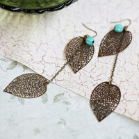 filigree leaves dangling indie earrings by Violet Bella - $18.99 : ShopRuche.com, Vintage Inspired Clothing, Affordable Clothes, Eco friendly Fashion