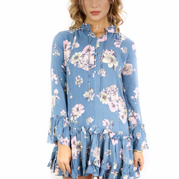 Neverland Slate Blue Floral Boho Dress