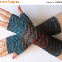 SALE Fingerless Gloves Blue Brown Black Green wrist warmers