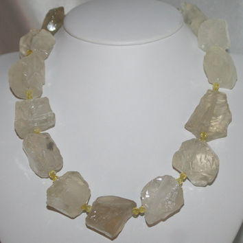 Raw Citrine Quartz Statement Necklace, Big Chunky Quartz Gemstone Jewelry, Bold Citrine Stone Necklace, Rough Lemon Yellow Citrine Statement