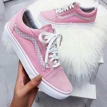 Fashion Online Vans With Warm Casual Shoes Men And Women Classic Black Cloth Shoes Pink(braid Line)