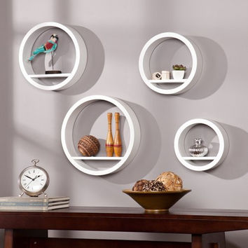 Bali Circle Shelf 4pc Set - White