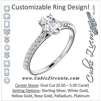 Cubic Zirconia Engagement Ring- The Delanie (Customizable Cathedral-set Oval Cut Style with Thin Pavé Band, Inlaid Milgrain and Tiny Peekaboo Accents)