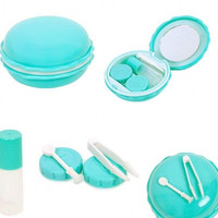 New 1pcs Macaroon Mirrored Contact Lens Case Lot Eye Lens Case Contact Lens Travel Case Plastic Contact Lens Box Holder 5 Colors