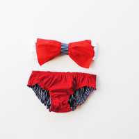 Red White and Blue reversible Cotton Bikini Style swimwear. Reversible panties Halter neck Bandeau top Adjustable Pita Pata DiVa Sexy cute.