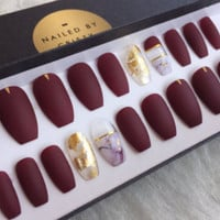 Matte Burgundy Press On Nails with Marble & Gold Leaf Accent Nails | Any Shape | Full Set 20 Nails