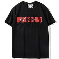 HM Moschino Joint Limited Edition MTV Letter Embroidered T-Shirt Black