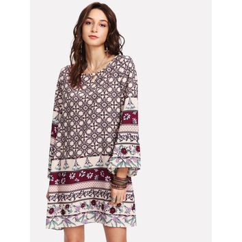 Multicolor Bell Sleeve Mixed Print Shift Dress