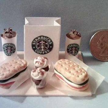 Barbie Sized Starbucks Food Board Set Tomato Roma Sandwiches