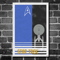 Star Trek poster USS Enterprise movie poster minimalist poster star trek blue home decor wall art