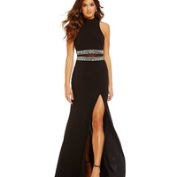 B. Darlin Mock Neckline Illusion Waist Gown | Dillards