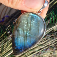 Huge Statement Piece~ Blue & Golden Labradorite Pendant In Sterling Silver (Includes Silver Chain)