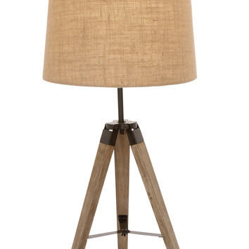 The Independent Wood Metal Tripod Table Lamp