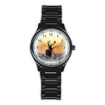 Animal Deer And Sunrise Men's Stainless Steel Round Dial Analog Watch