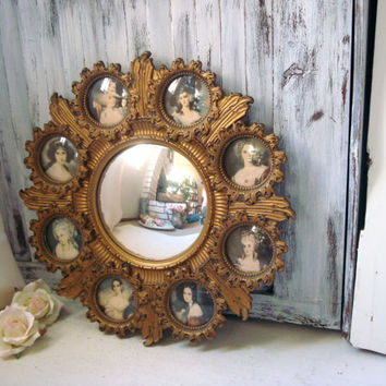 Vintage Cameo Round Mirror with Small Frames, Victorian Inspired Wall Decor, Renaissance, Round Ornate Vintage Mirror, Nursery Frames