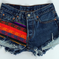 Frayed Aztec Denim Shorts by shopABBEY on Etsy