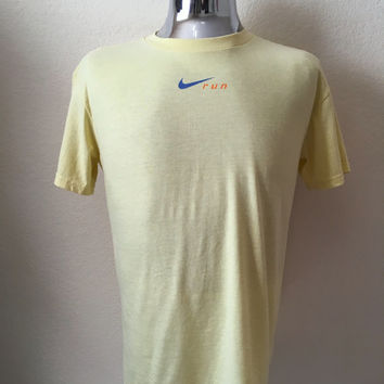 Vintage Men's 80's Nike Run, T Shirt, Yellow, Polyester, Cotton, Short Sleeve (L)
